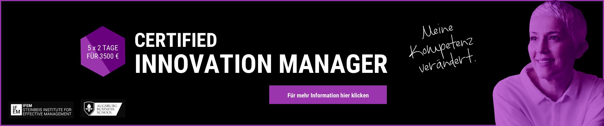 Banner Innovation Manager Zertifikatskurs Weiterbildung